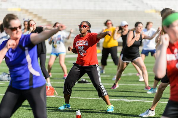 Members of the UW-Madison community participate in Bucky's Workout, led by UW mascot Bucky Badger