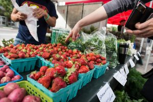 Pedestrians shop for fresh strawberries and other produce while walking around the Dane County Farmers' Market