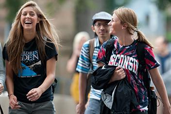 UW undergrads walking on campus