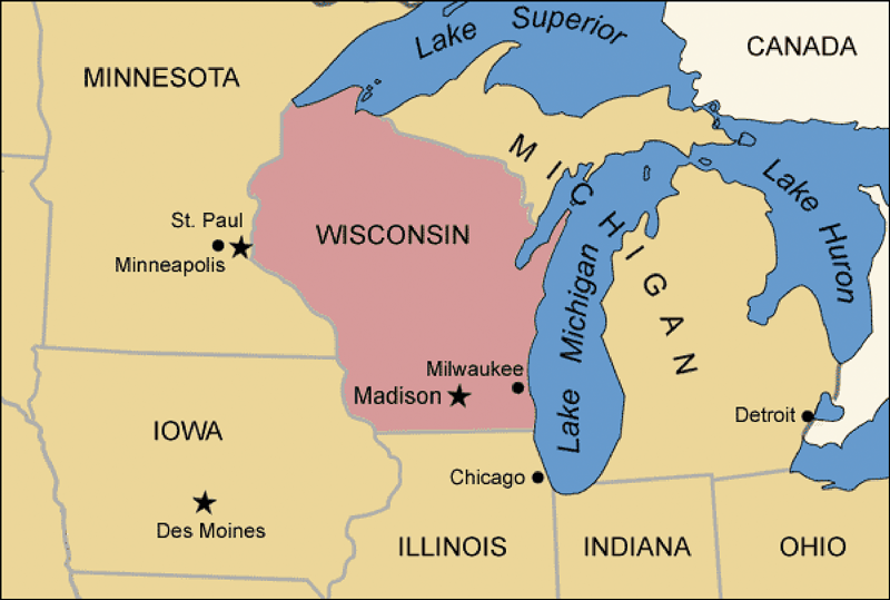 Map of Madison, Wisconsin, in context of the midwest